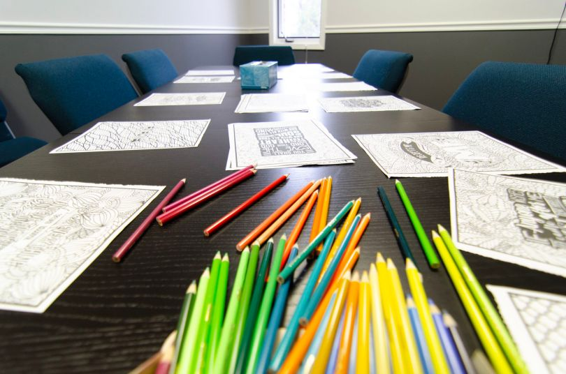 Scripture Coloring station ready
