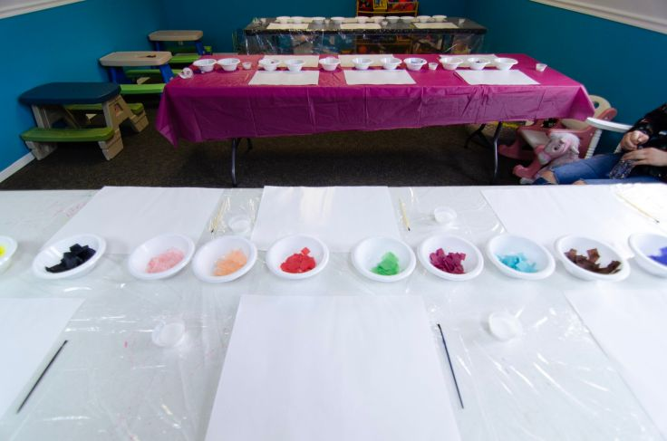 Tissue paper mosaic station ready