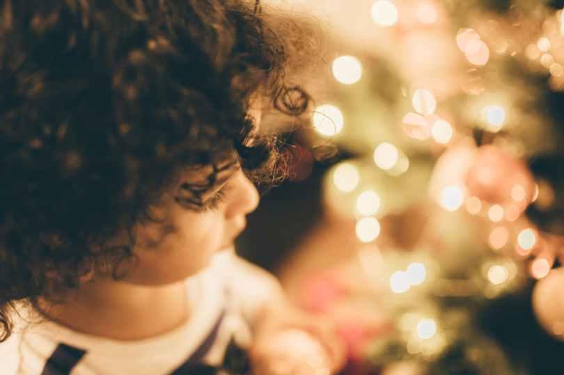 child christmas christmas lights kid