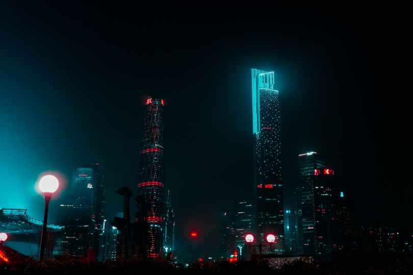 high rise buildings during nighttime