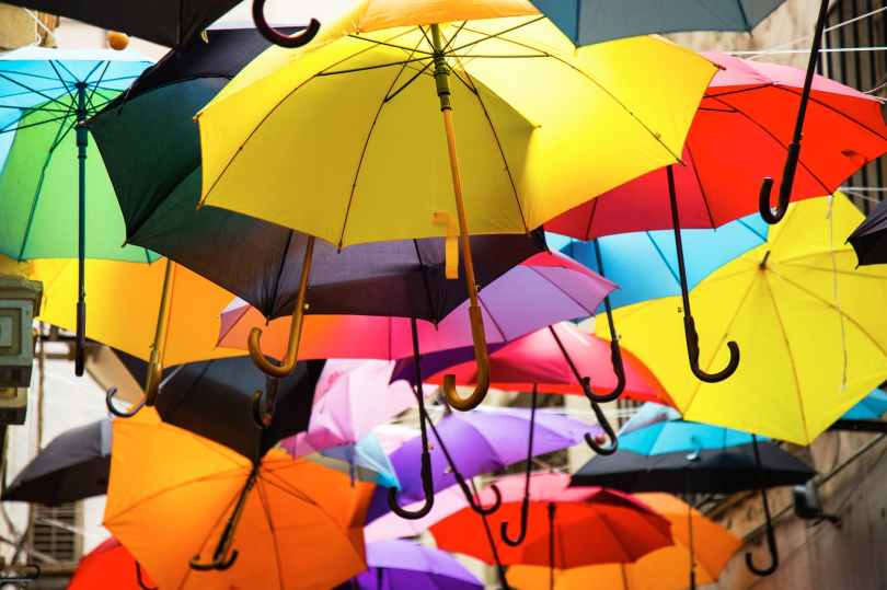 assorted colors umbrella